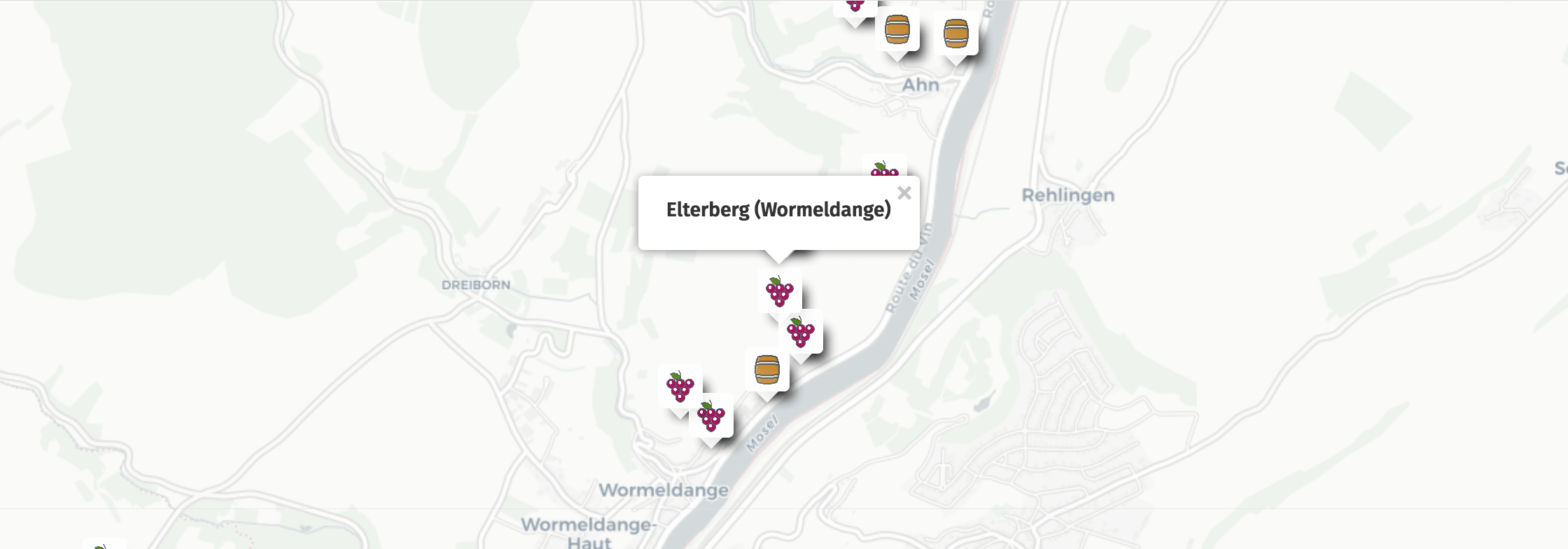 Geolocation of Elterberg wines in Wormeldange