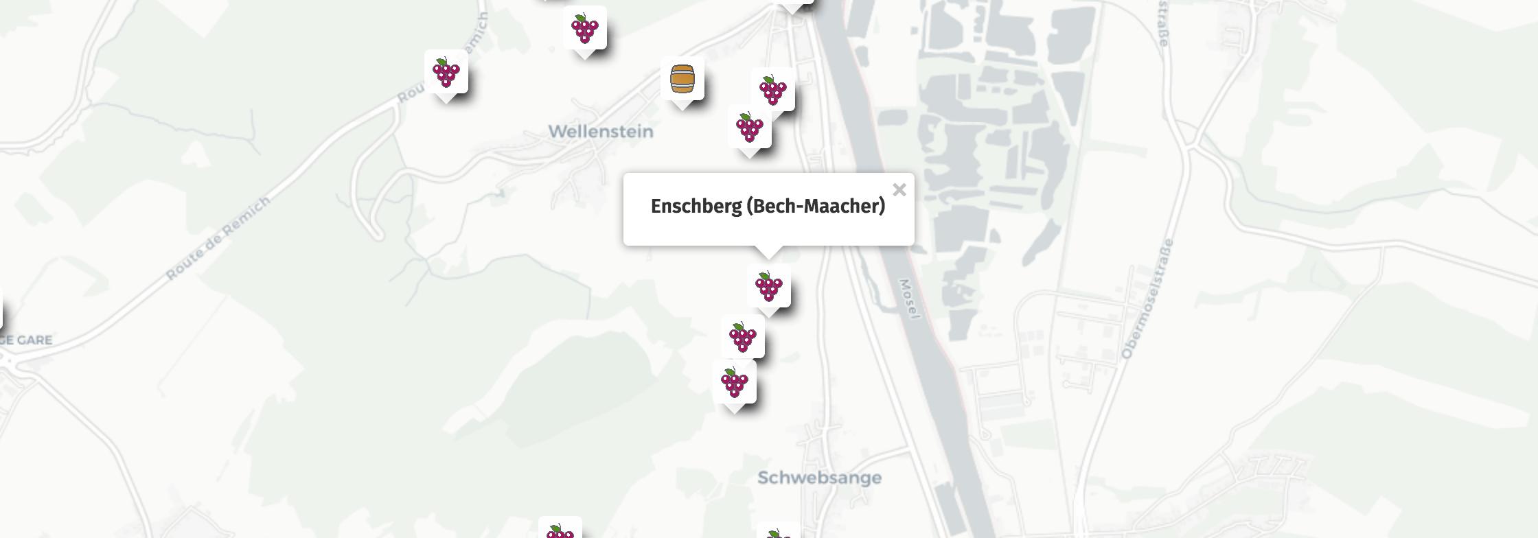 Geolocalisation des vins du Enschberg à Bech-Kleinmacher