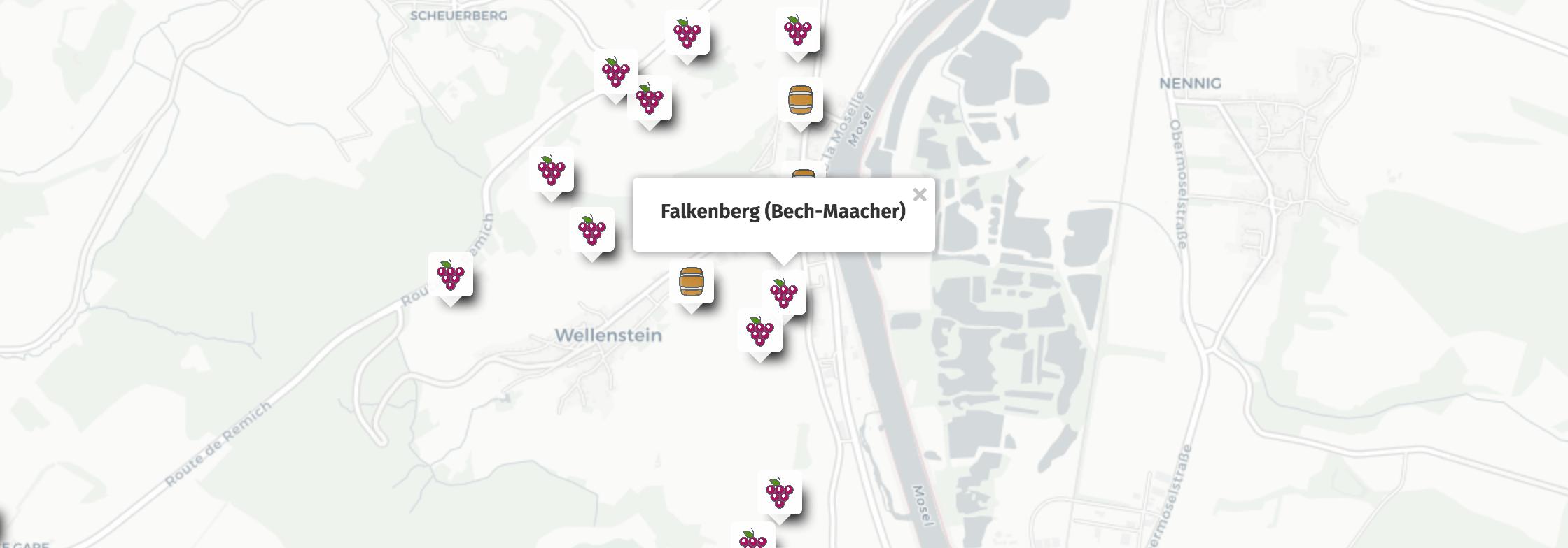 Geolocalisation des vins du Falkenberg à Bech-Kleinmacher