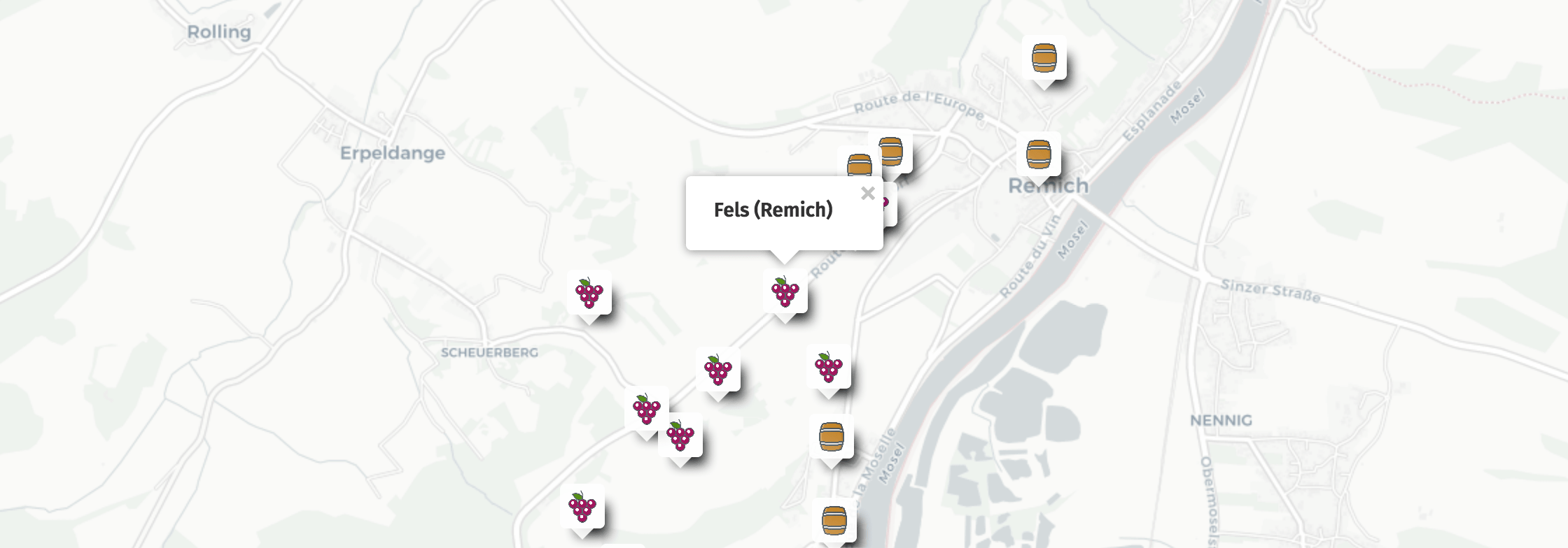 Geolocation of Fels wines in Remich
