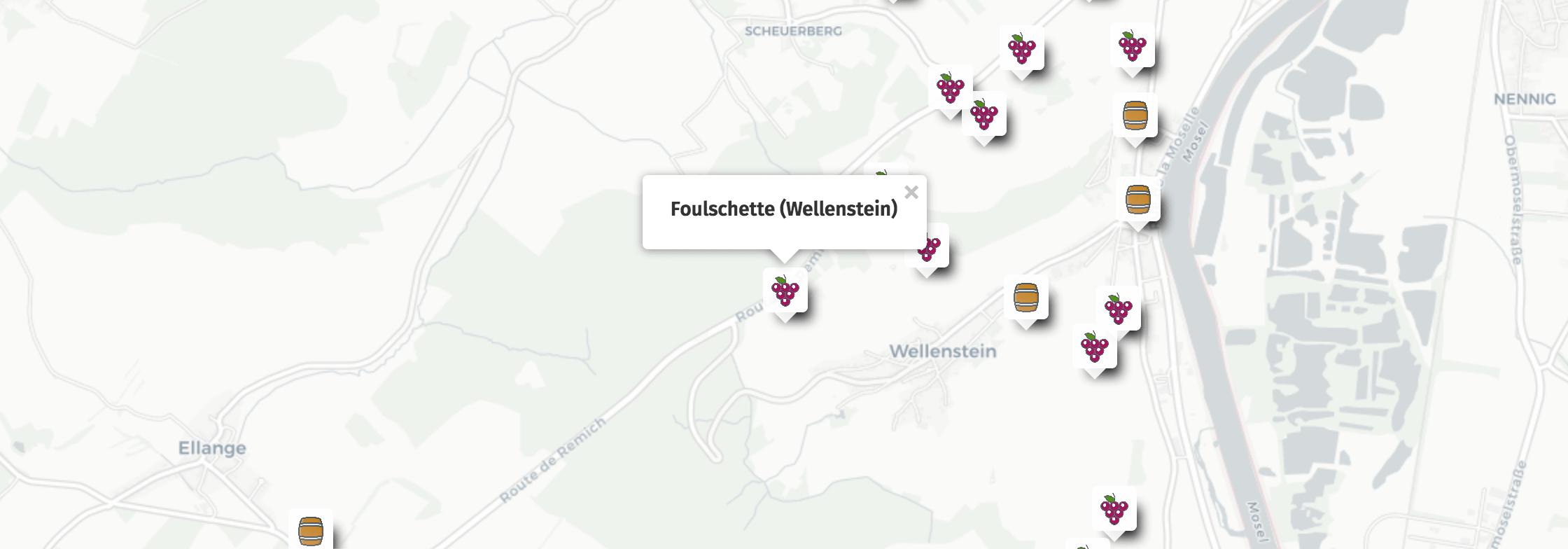 Geolocation of Foulschette wines in Wellenstein