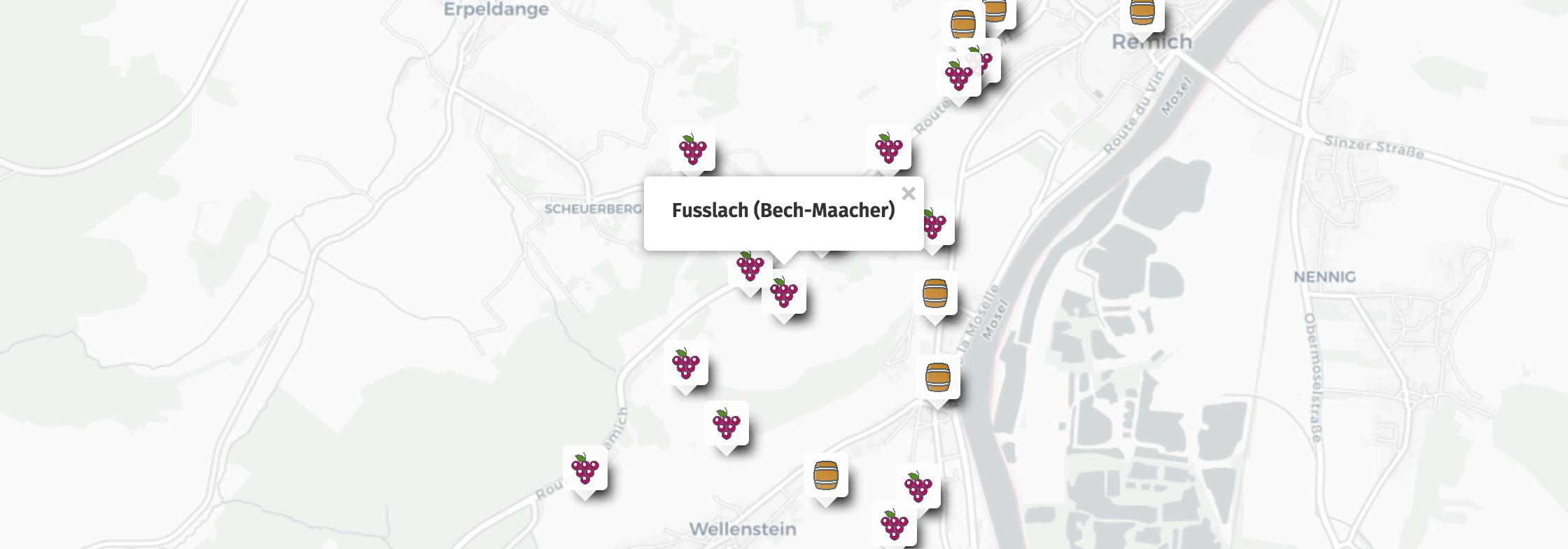 Geolocation of Fusslach wines in Bech-Kleinmacher