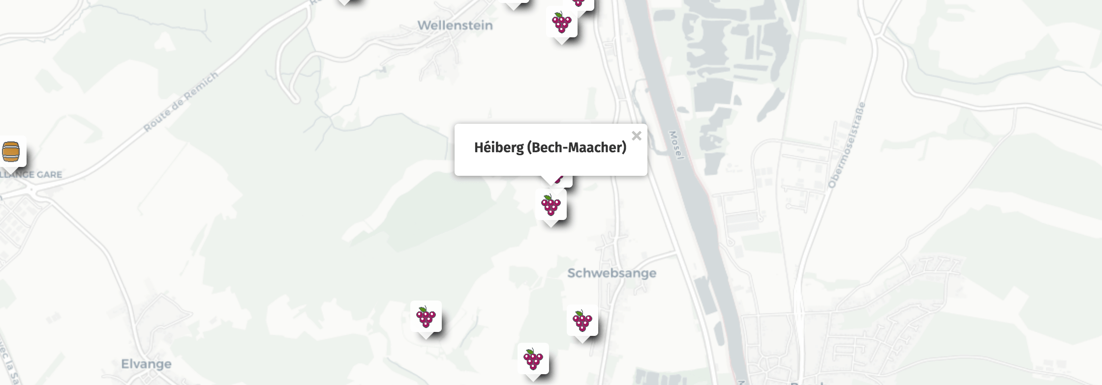 Geolocalisation des vins du Héiberg à Bech-Kleinmacher