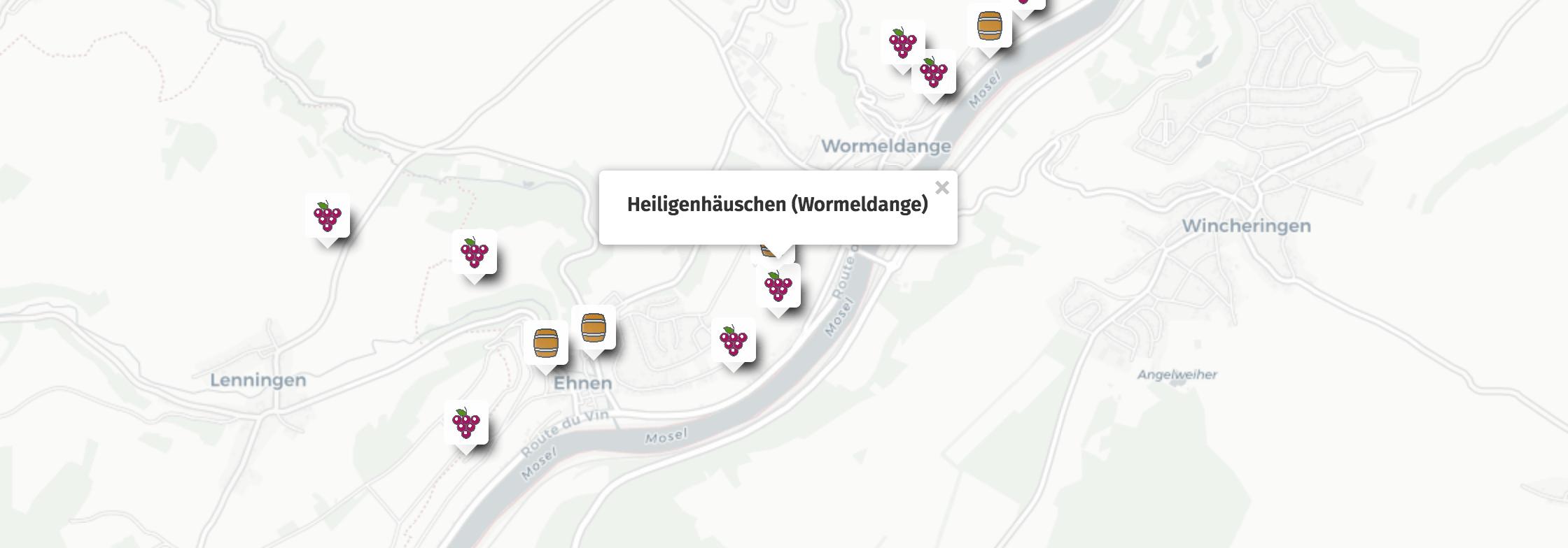 Geolocalisation des vins du Heiligenhäuschen à Wormeldange