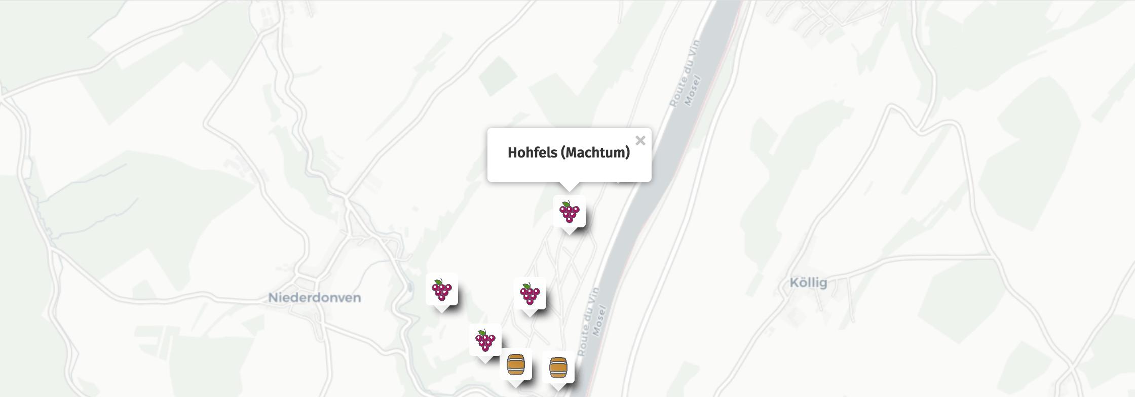 Geolocalisation des vins du Hohfels à Machtum