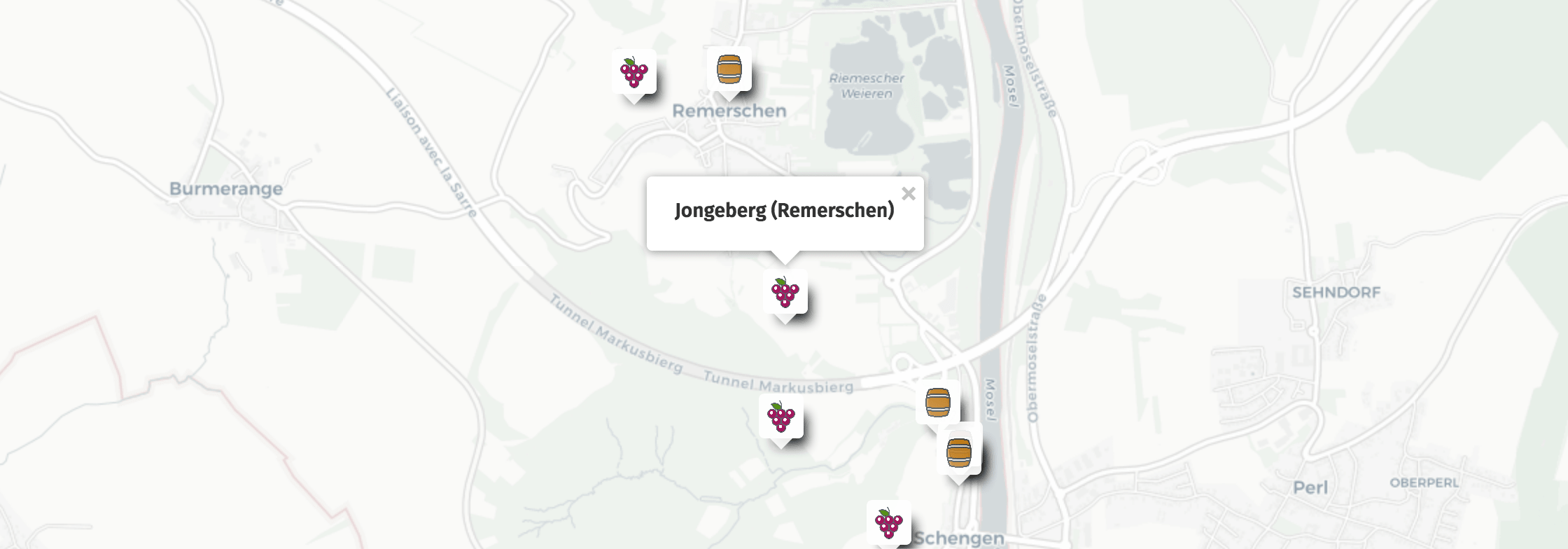 Geolocalisation des vins du Jongeberg à Remerschen