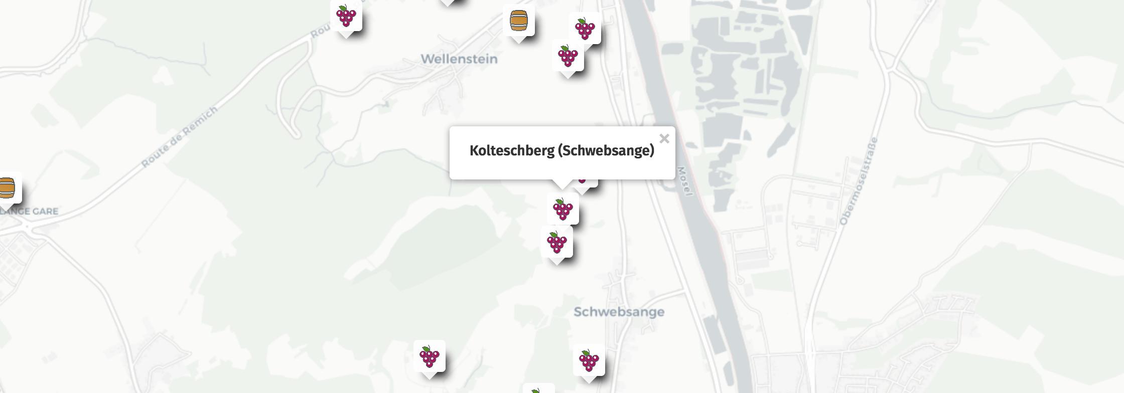Geolocalisation des vins du Kolteschberg à Schwebsange