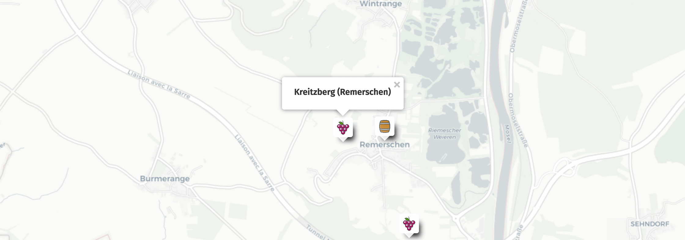 Geolocation of Kreitzberg wines in Remerschen