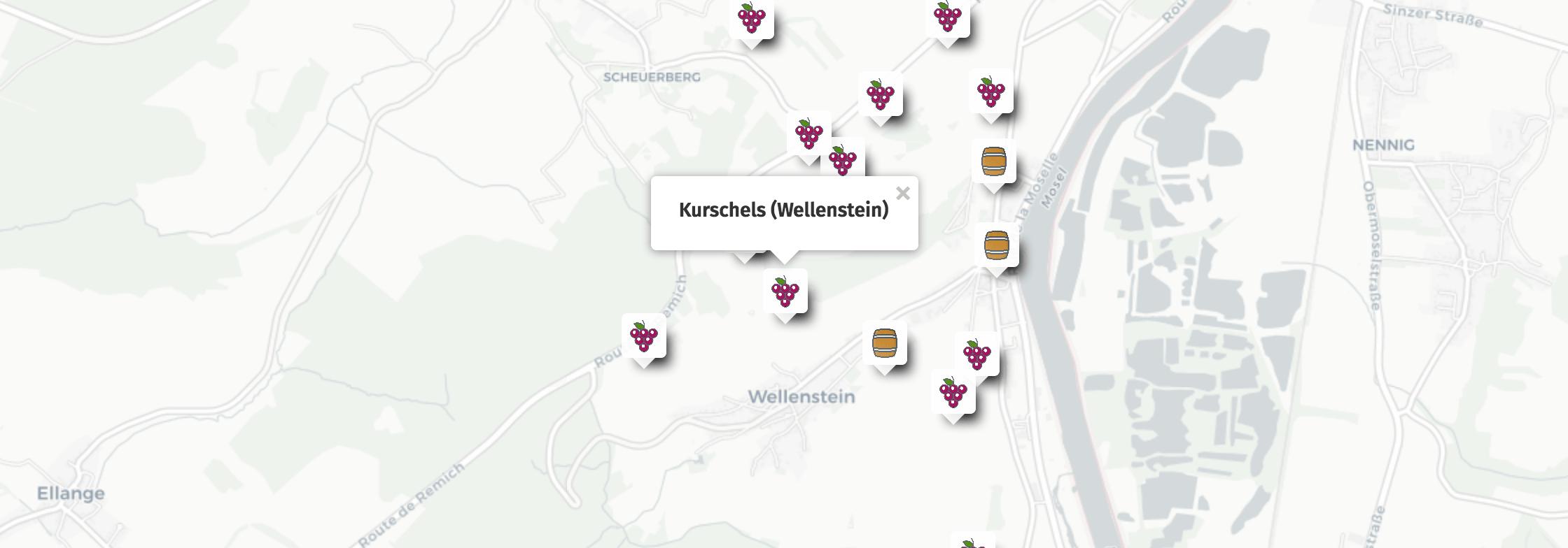 Geolocalisation des vins du Kurschels à Wellenstein