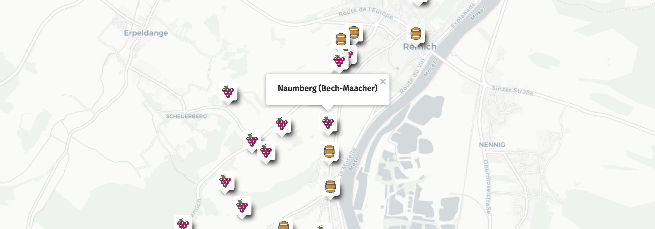 Geolocation of Naumberg wines in Bech-Kleinmacher