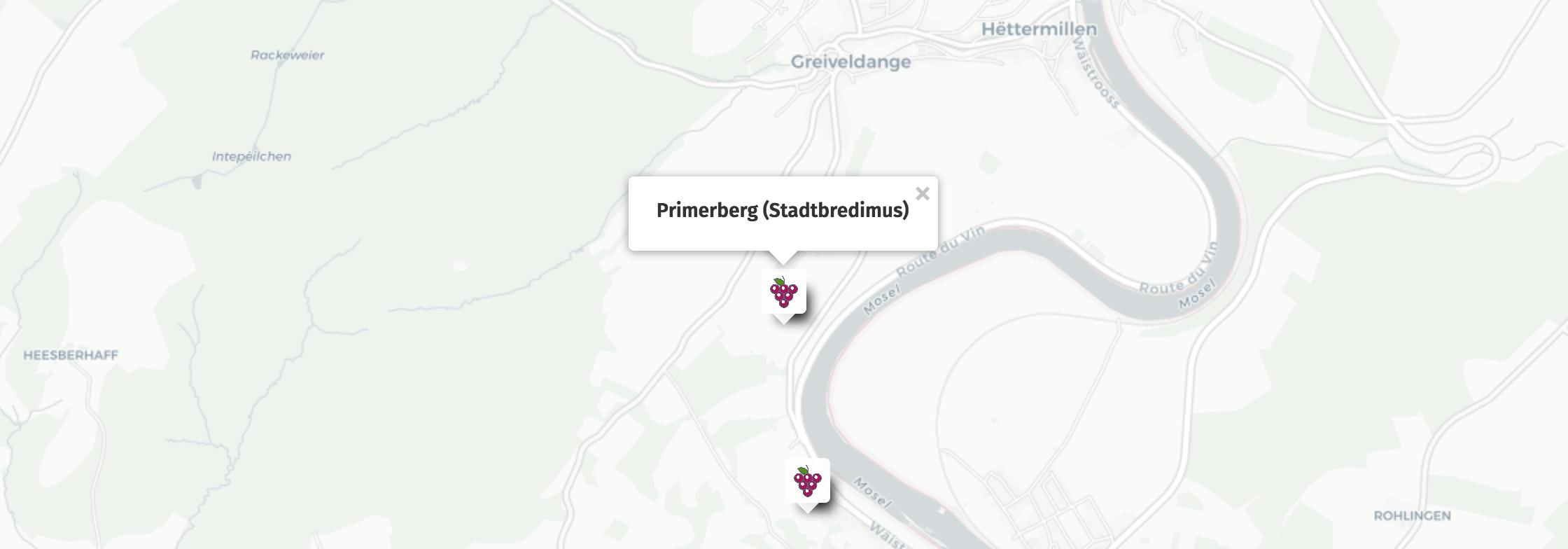 Geolocalisation des vins du Primerberg à Stadtbredimus