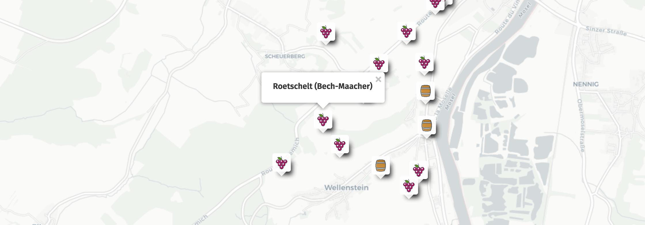 Geolocalisation des vins du Roetschelt à Bech-Kleinmacher