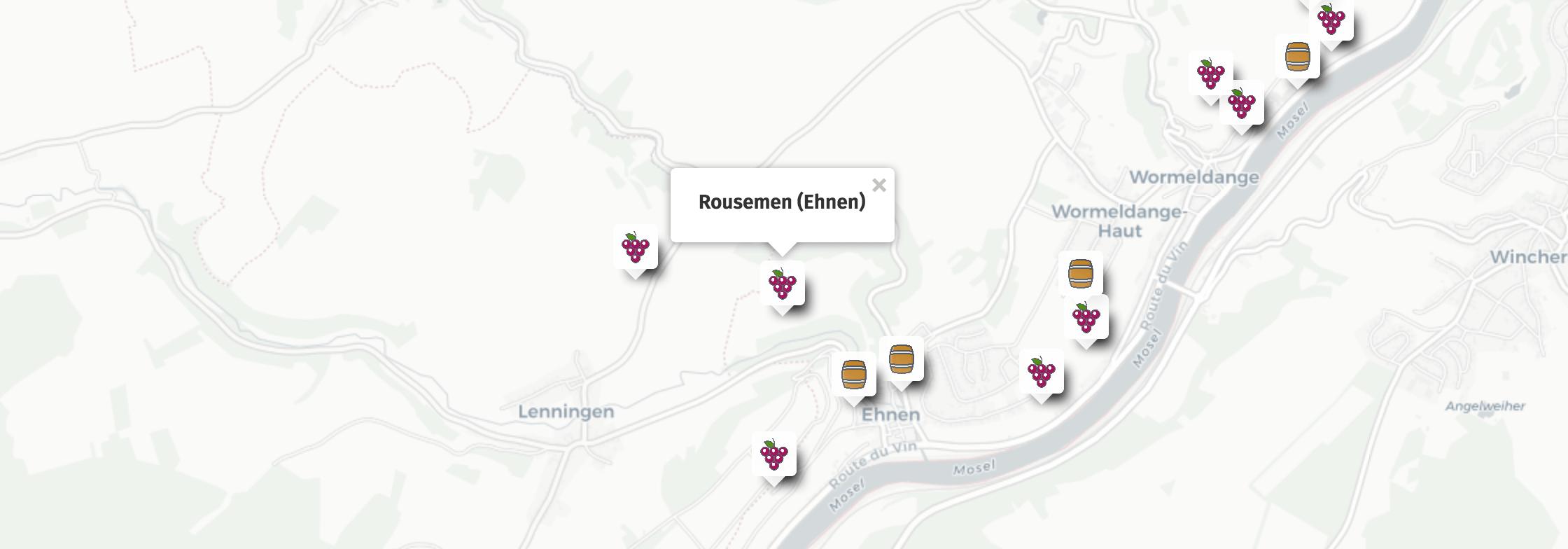 Geolocalisation des vins du Rousemen à Ehnen