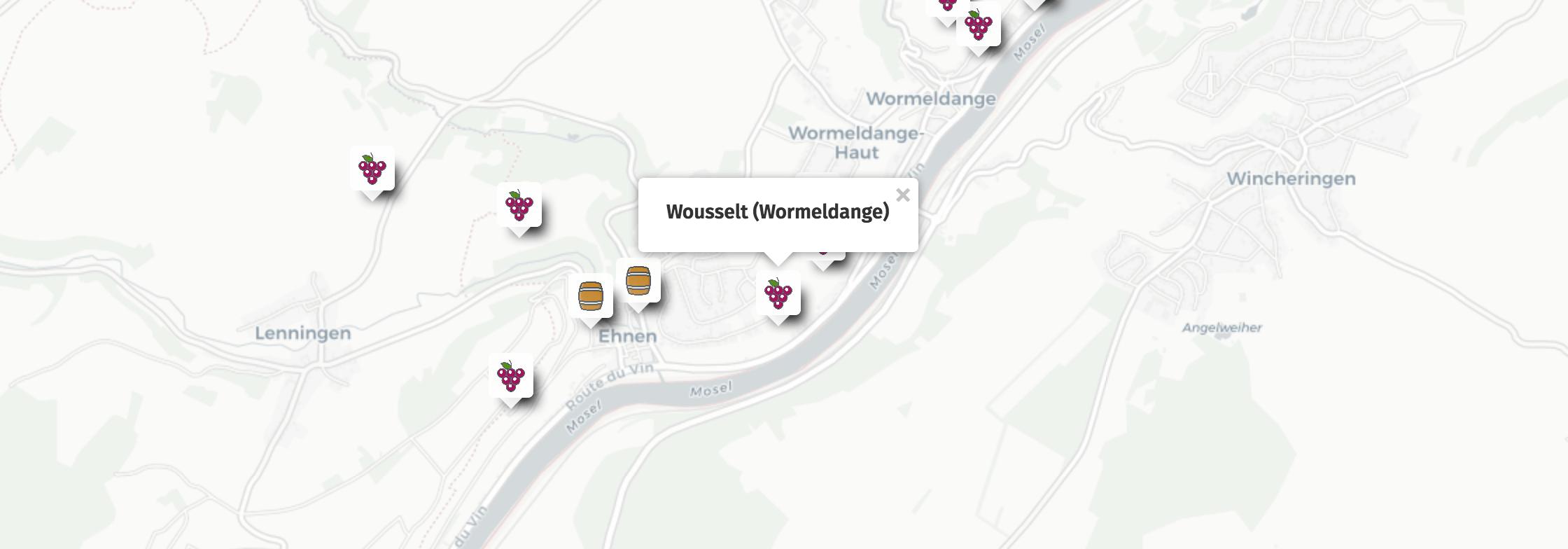 Geolocalisation des vins du Wousselt à Wormeldange